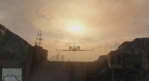 """GTA V; Flying high."""